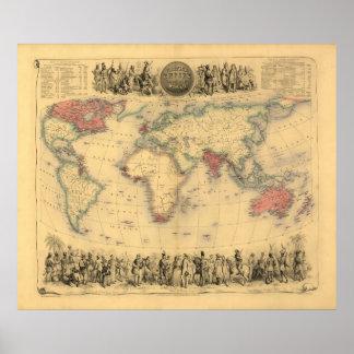 mapa de los 1850's del Imperio británico en el mun Poster