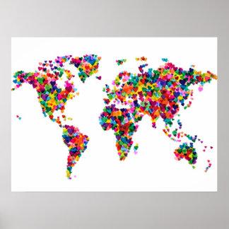 Mapa de los corazones del amor del mapa del mundo póster
