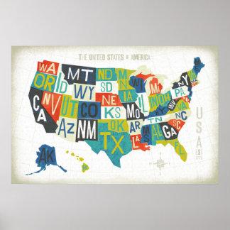 Mapa de los E.E.U.U. de la prensa de copiar Póster