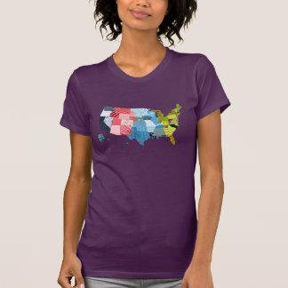 Mapa de los E.E.U.U. en un falso diseño del Camiseta