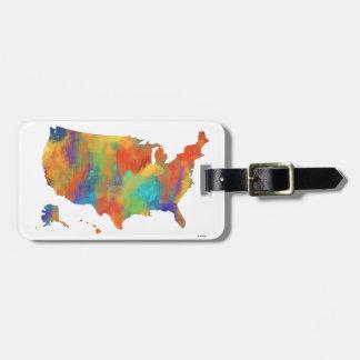 MAPA de los E.E.U.U. - tirón del equipaje Etiquetas Bolsas
