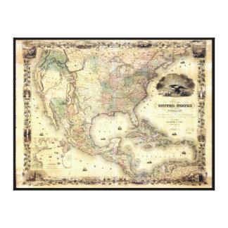 Mapa de los Estados Unidos de J.H. Colton (1849) Impresión En Lienzo