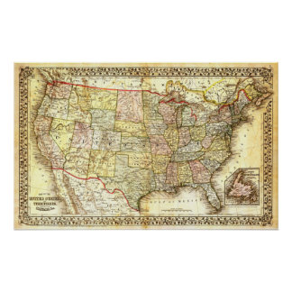 Mapa de los Estados Unidos (siglo XIX) Póster