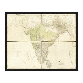 Mapa de los indies del este con los caminos (1768) impresión en lienzo