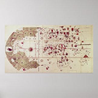 Mapa de los mundos viejos y nuevos, c.1500 póster