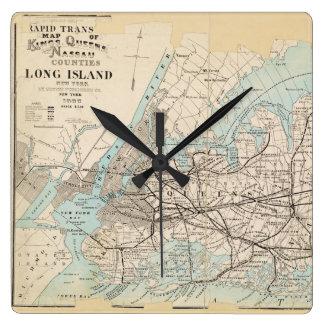 Mapa de los reyes, Queens, Long Island Reloj Cuadrado