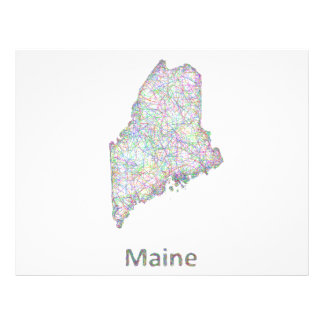 Mapa de Maine Folleto 21,6 X 28 Cm