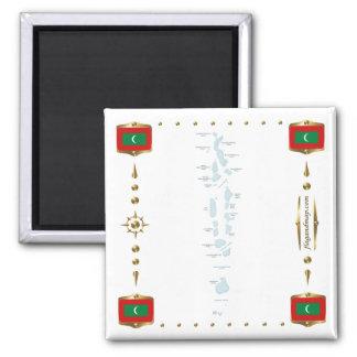 Mapa de Maldivas + Imán de las banderas