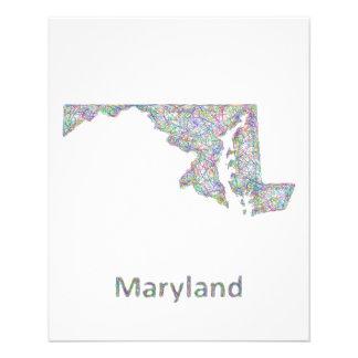 Mapa de Maryland Folleto 11,4 X 14,2 Cm