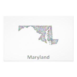 Mapa de Maryland Folleto 14 X 21,6 Cm