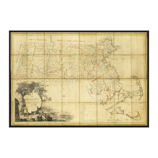 Mapa de Massachusetts (1802) Impresión En Lienzo