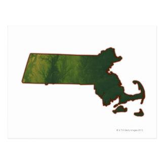 Mapa de Massachusetts 3 Tarjetas Postales