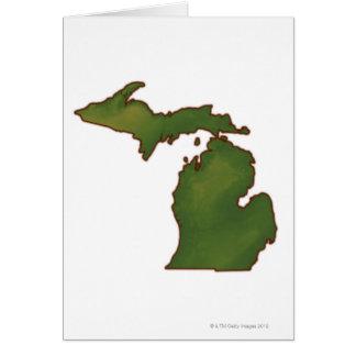 Mapa de Michigan 4 Tarjeta De Felicitación