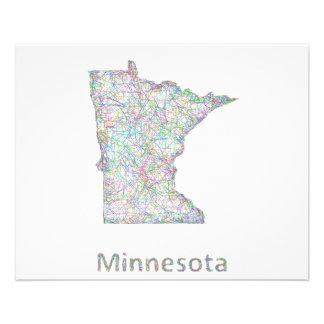 Mapa de Minnesota Folleto 11,4 X 14,2 Cm