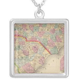 Mapa de N y de S Carolina de Mitchell Collar Plateado