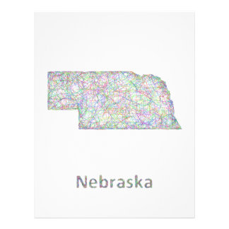 Mapa de Nebraska Folleto 21,6 X 28 Cm