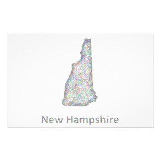 Mapa de New Hampshire Folleto 14 X 21,6 Cm