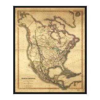 Mapa de Norteamérica (1849) Impresión En Lienzo