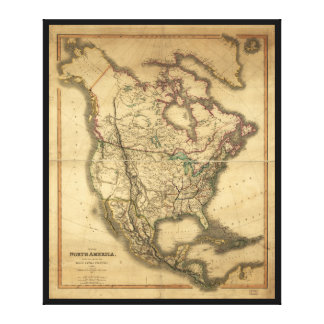 Mapa de Norteamérica (1849) Lienzo