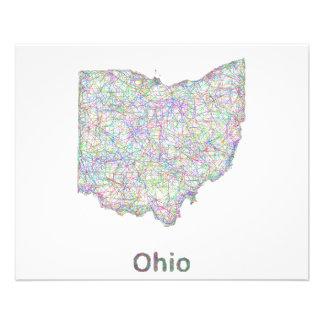 Mapa de Ohio Folleto 11,4 X 14,2 Cm