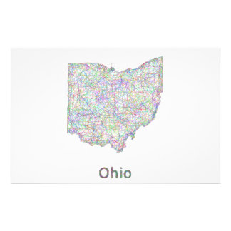 Mapa de Ohio Folleto 14 X 21,6 Cm