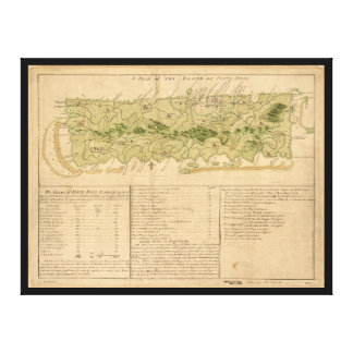 Mapa de Oporto Rico circa 1760 (Puerto Rico) Lienzo