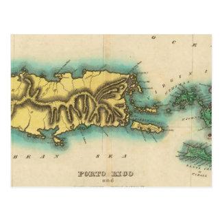 Mapa de Oporto Rico y las Islas Vírgenes Postal