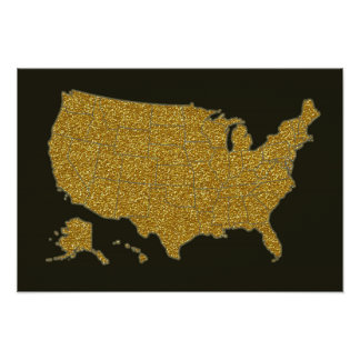 mapa de oro de los E.E.U.U. Póster