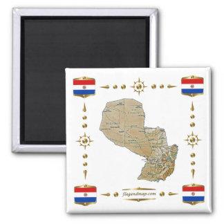 Mapa de Paraguay + Imán de las banderas