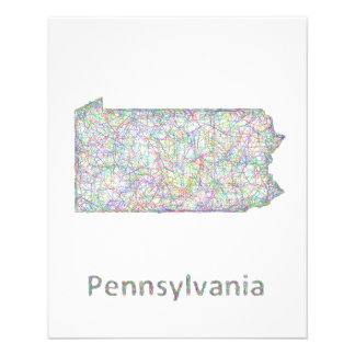 Mapa de Pennsylvania Folleto 11,4 X 14,2 Cm