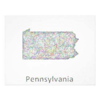 Mapa de Pennsylvania Folleto 21,6 X 28 Cm