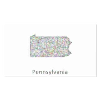 Mapa de Pennsylvania Tarjetas De Visita