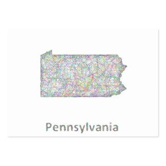 Mapa de Pennsylvania Tarjetas De Visita Grandes