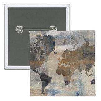 Mapa de piedra gris del mundo chapa cuadrada
