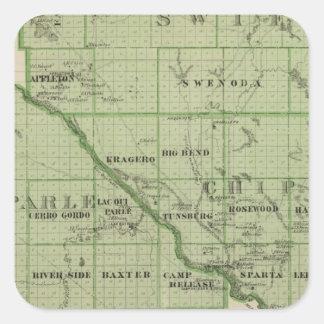 Mapa de rápido, Minnesota Calcomanías Cuadradass Personalizadas