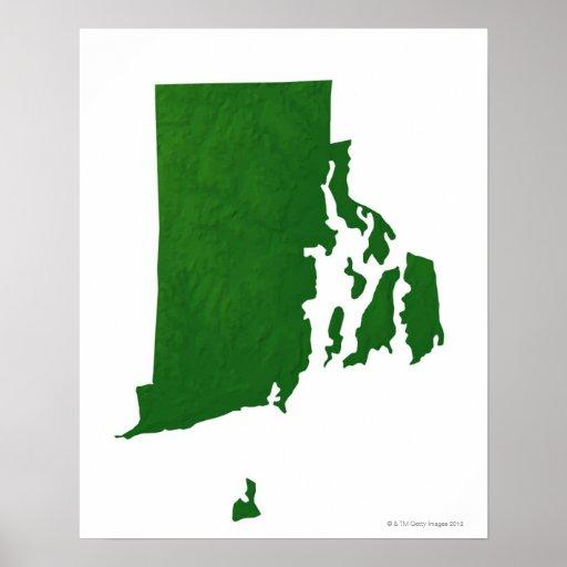 Mapa de Rhode Island 2 Posters