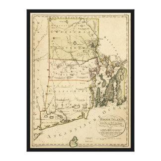 Mapa de Rhode Island de Carl Ernst Bohn (1797) Impresión En Lienzo