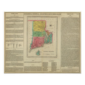 Mapa de Rhode Island Póster