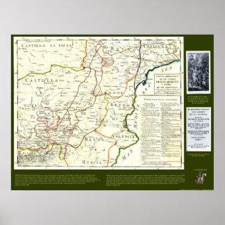 Mapa de ruta del Don Quijote - Cervantes Póster