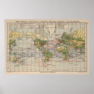 Mapa de rutas de la navegación del mundo del póster
