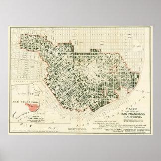 Mapa de San Francisco que muestra a 1906 el fuego Póster
