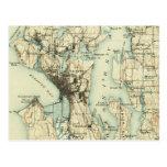 Mapa de Seattle del vintage Postal