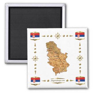 Mapa de Serbia + Imán de las banderas