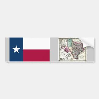 Mapa de Tejas y bandera del estado Pegatina De Parachoque