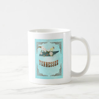 Mapa de Tennessee con los pájaros preciosos Tazas De Café