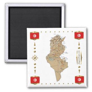 Mapa de Túnez + Imán de las banderas