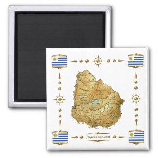 Mapa de Uruguay + Imán de las banderas