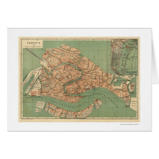 Mapa de Venecia, Italia hacia 1886 Tarjeta