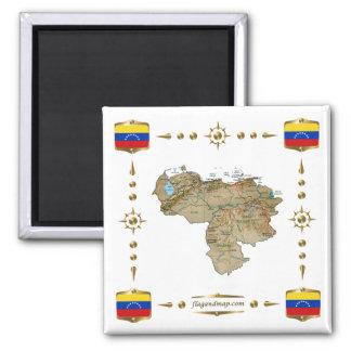 Mapa de Venezuela + Imán de las banderas