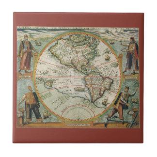 Mapa de Viejo Mundo antiguo de las Américas, 1597 Azulejo Cuadrado Pequeño